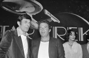 Leonard Nimoy and William Shatner attend a Paramount Studio press conference about the new Star Trek movie in Los Angeles.