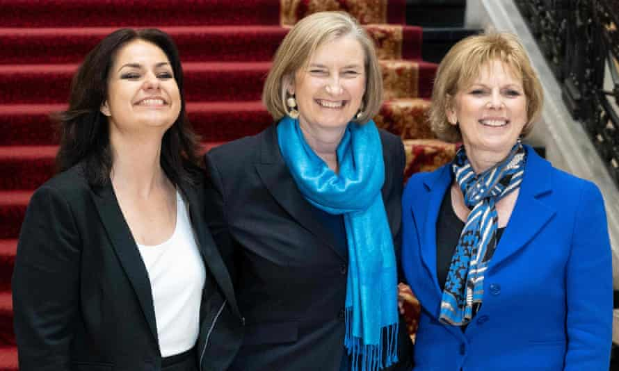Heidi Allen, Sarah Wollaston and Anna Soubry pose for a picture after announcing their resignation from the Conservative party on Wednesday