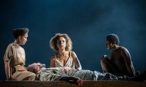 Georgia Landers, Ralph Fiennes, Sophie Okonedo, Gloria Obianyo in Antony and Cleopatra.