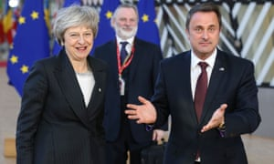Luxembourg's prime minister, Xavier Bettel with Theresa May at the EU summit