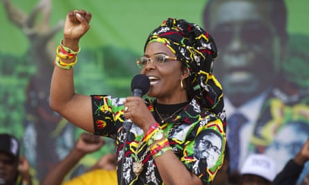 Grace Mugabe, pictured at a rally last month, is alleged to have attacked the woman with an extension cord.