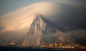 Rock of the British territory of Gibraltar at sunrise, August 2013.
