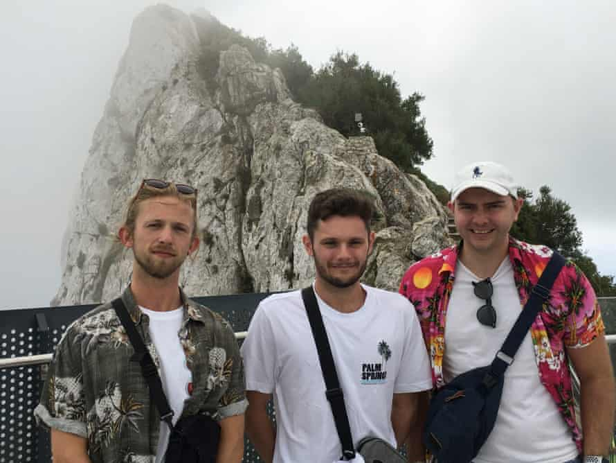 From left: Jordan Irwin, Aaron Part and Jack Darby on the Gibraltar Skywalk