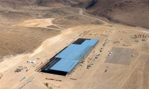 The Tesla Gigafactory is shown under construction outside Reno, Nevada.