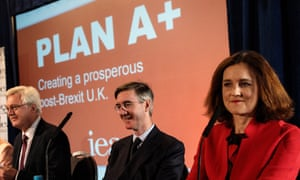 The Brexiters (from left) David Davis, Jacob Rees-Mogg and Theresa Villiers at the launch of the IEA report.