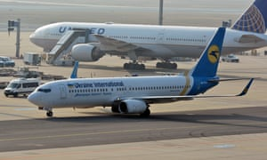 Ukraine International Airlines Boeing 737-800 passenger plane at Frankfurt airport
