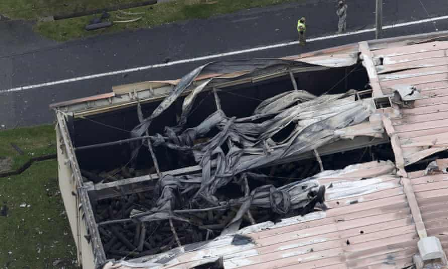 An aerial view of a warehouse which caught fire after an explosion at the US Army Sagami general depot in Sagamihara, south-west of Tokyo.