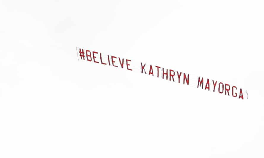Plane above Old Trafford on the return of Cristiano Ronaldo towing a message about Kathryn Mayorga who alleged that she was raped by Ronaldo in 2009