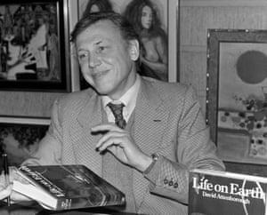 David Attenborough signing copies of Life on Earth at Selfridges, London, 1979.