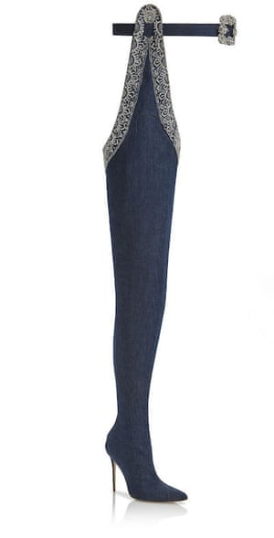Jeans genie … Rihanna's Manolo Blahnik denim boots