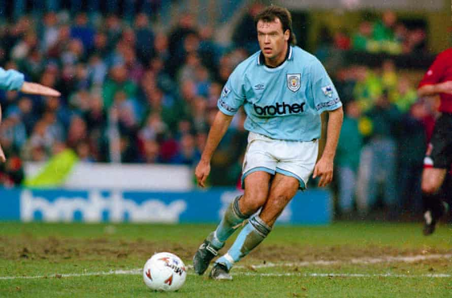 Uwe Rösler, pictured here playing for Manchester City in 1995, named his sons after two of the club's legends. One of them, Colin, plays for City's under-18s.
