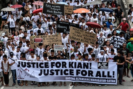 The funeral of 17-year-old schoolboy Kian Loyd delos Santos, shot dead by police, turned into of the biggest demonstrations yet against brutal Duterte's policy. Photograph: Ezra Acayan/NurPhoto via Getty Images