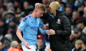 Kevin De Bruyne is greeted by Pep Guardiola after his man-of-the-match performance.