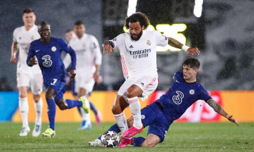Marcelo in action for Real Madrid in the Champions League semi-final first leg against Chelsea.