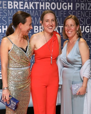 Wojcicki with her sisters, Anne, left, CEO of 23andMe, and Janet, a professor, centre.