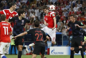 Russia's Mario Fernandes scores their second goal.