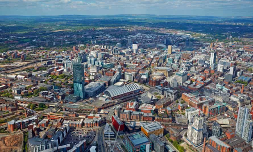 aerial view of manchester city