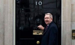 Len McCluskey entering 10 Downing Street.