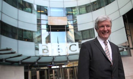 Tony Hall outside the BBC's Broadcasting House in London