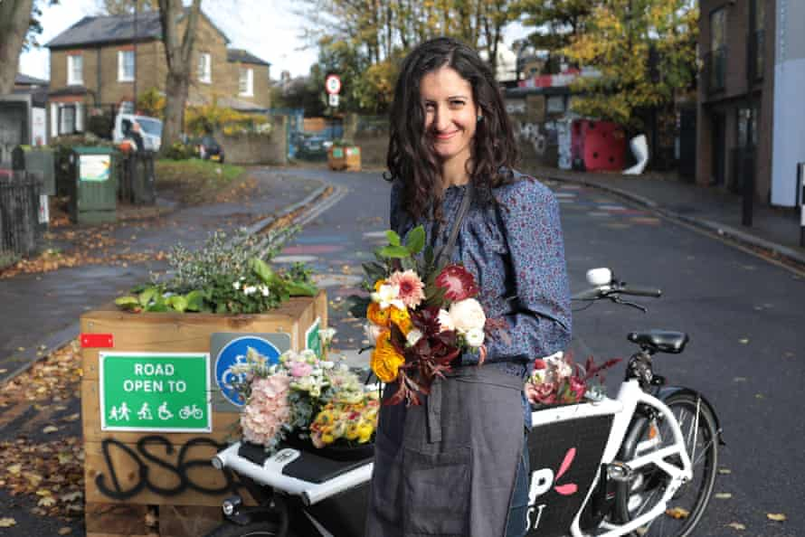 Florist Victoria Clasen with her delivery bike.