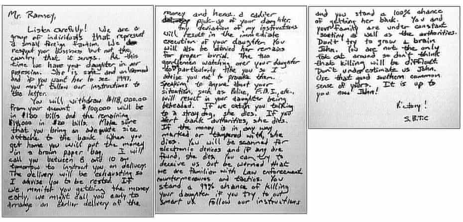 The ransom note sent in the JonBenét Ramsey case. It is believed to be the longest ever recorded.