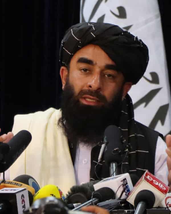 The Taliban spokesman Zabiullah Mujahid giving a press conference in Kabul last week.