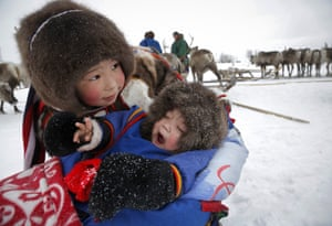 Two Nenets children in the Yamal Nenets region of Russia at a reindeer herding event