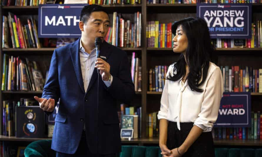 Evelyn Yang with her husband, Andrew, in Iowa last month.