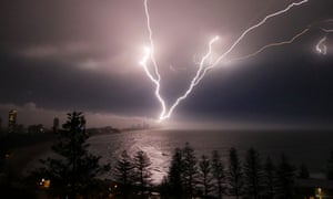 Lightning strikes over the Gold Coast on Sunday night. Wild weather generated more than 265,000 strikes across south-east Queensland.