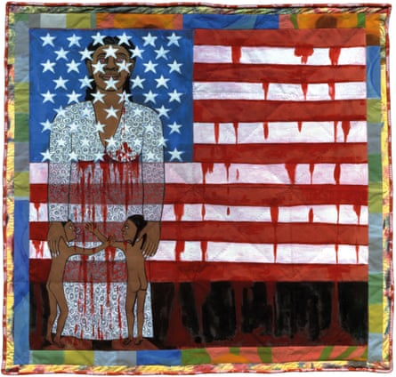The Flag is Bleeding #2 (American Collection #6), 1997, by Faith Ringgold.
