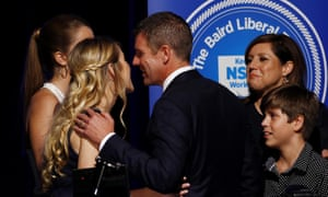NSW Premier Mike Baird celebrates with his family
