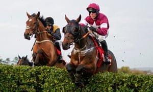 Tiger Roll jumps a fence at Cheltenham in the Glenfarclas Cross-Country Chase