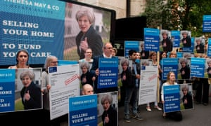 A protest against Theresa May's 'dementia tax' proposals during the 2017 general election campaign.