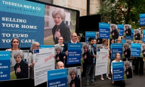 A demonstration by former Liberal Democrat cabinet minister and campaigners against Theresa May's social care policy during the 2017 General Election campaign.