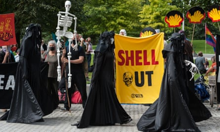 Extinction Rebellion joins a protest outside the London offices of oil company Shell last week. Royal Dutch Shell have also been targeted by institutional investors in the Climate Action 100+ group as part of a push to make big polluters back strategies to reach net-zero greenhouse gas emissions.