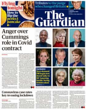 Guardian front page, Tuesday 16 February 2021