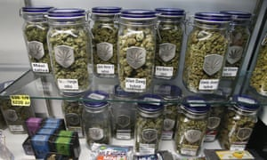 Marijuana and cannabis-infused products are displayed for sale at Medicine Man marijuana dispensary in Denver, Colorado.