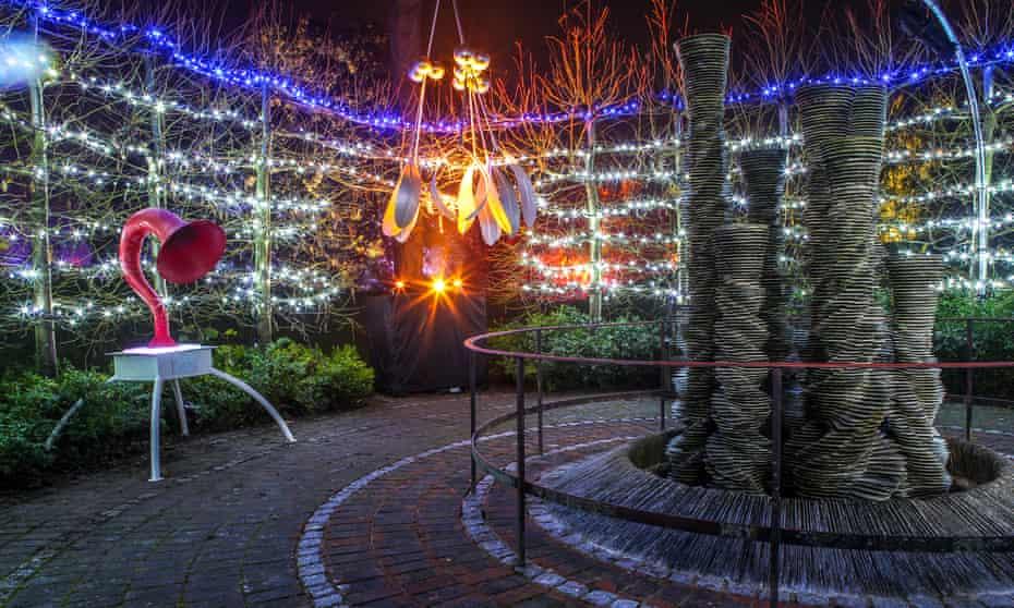 Kew Gardens Winter Trail, at night.