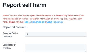 Twitter's page for reporting self-harm