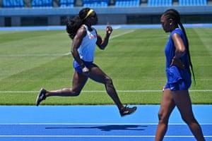 Kawasaki, Japan. British athletes Anyika Onuora, left, and Perri Shakes-Drayton train with the new mixed 400-metre relay team at Todoroki stadium. The new mixed relay race will make its Olympic debut at Tokyo 2020