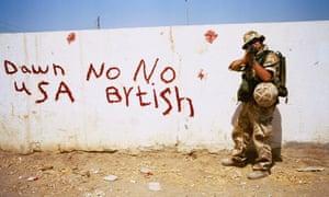 A British territorial army soldier on escort duty in al-Amara