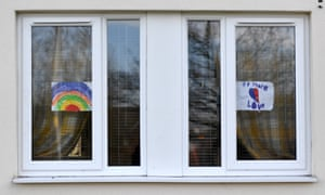 A rainbow on a home opposite Wythenshawe hospital in Manchester