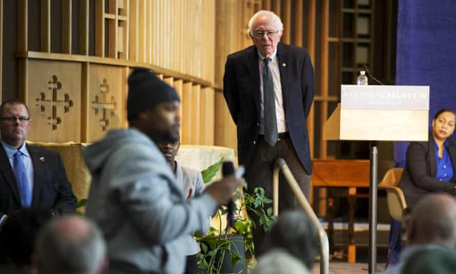 Bernie Sanders listens to concerns about contaminated water during a community forum at Woodside Church in Flint, Michigan.