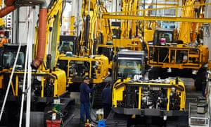 The new generation excavator assembly line at JCB Heavy Products Limited in Uttoxeter, Staffordshire