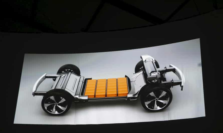 A video shows batteries on a car chassis during the unveiling of the Faraday Future FFZERO1 electric concept car