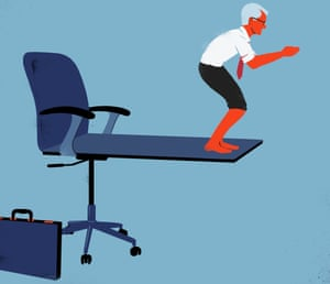 Illustration of older man diving off office chair