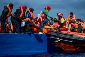 Lifeguards from the The Spanish NGO rescued migrants of different nationalities from two wooden boats in the Mediterranean Sea