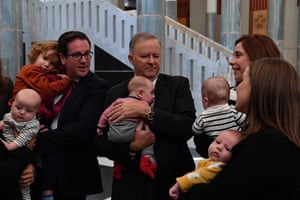 Leader of the Opposition Anthony Albanese alongside MP's Anika Wells, Alicia Payne, Kate Thwaites and Matt Keogh and their children