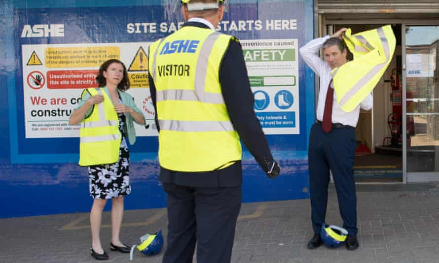The shadow chancellor, Anneliese Dodds, with the Labour leader Keir Starmer during a visit to the town centre regeneration project in Stevenage, Hertfordshire, in late June.