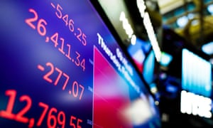 Dow Jones industrial average onscreen at the NYSE